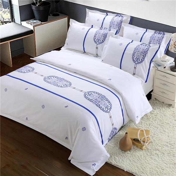 五星级酒店床上用品四件套定做 60支全棉贡缎印花  情迷香格拉